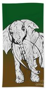 Inked Elephant In Green And Brown Bath Towel