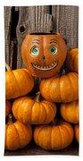 Jack-o-lantern On Stack Of Pumpkins Bath Towel