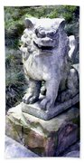 Japanese Garden Lion Dog Statue 1 Bath Towel