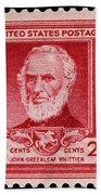 John Greenleaf Whittier Postage Stamp Bath Towel
