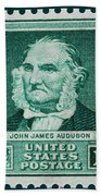 John James Audubon Postage Stamp Bath Towel