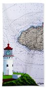 Kilauea Point Lighthouse On Noaa Chart Bath Towel