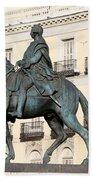 King Charles IIi Statue On Puerta Del Sol Bath Towel
