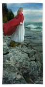 Lady In Vintage Clothing By The Sea Bath Towel