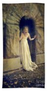 Lady In White Gown In Doorway Bath Towel