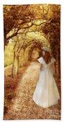 Lady Walking In Tree Tunnel In Garden Bath Towel