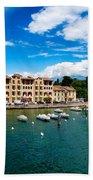 Lago Di Garda In Italy In Early Spring  Bath Towel