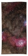 Lagoon Nebula And Trifid Nebula Bath Towel