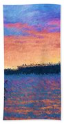 Lake Quinault Sunset - Impressionism Bath Towel