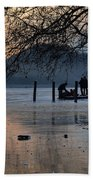 Lake With Ice In Sunset Bath Towel