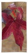 Leaf In Red Bath Towel