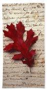 Leaf On Letter Bath Towel