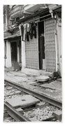 Life By The Tracks In Old Hanoi Bath Towel