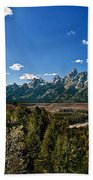 Light Rays On The Grand Tetons Bath Towel