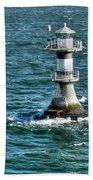 Lighthouse On The Blue Sea Bath Towel