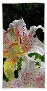 Lilies In The Rain Bath Towel