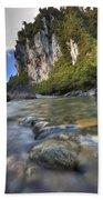 Limestone Cliffs And Fox River, Paparoa Bath Towel