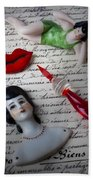 Lips Pen And Old Letter Bath Towel