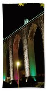 Lisbon Historic Aqueduct By Night Bath Towel