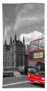 London Big Ben And Red Bus Bath Towel