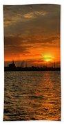 Long Beach Harbor Sunrise Bath Towel