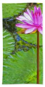 Lotus Blossom And Water Lily Pads Bath Towel