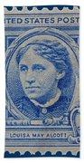 Louisa May Alcott Postage Stamp  Bath Towel