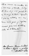Madame De Stael Letter Bath Towel