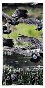 Magpie Geese In Flight Mcminn Lagoon Bath Towel