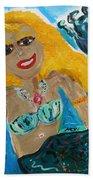 Maid With Golden Crab Bracelet Bath Towel