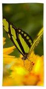 Malachite Butterfly On Flower Bath Towel