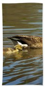Mama Honker And Goslings Bath Towel