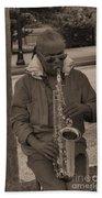 Man Playing His Saxophone Bath Towel