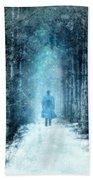 Man Walking Through Snowy Woods Bath Towel