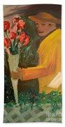 Man With Flowers  Bath Towel