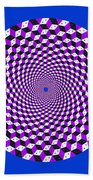 Mandala Figure Number 5 With Rhombus Steps In Black And White And Purple Bath Towel