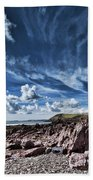 Manorbier Rocks Big Sky Bath Towel