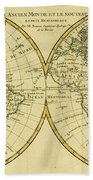 Map Of The World In Two Hemispheres Hand Towel