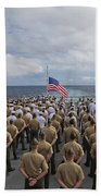 Marines And Sailors Stand In Formation Bath Towel