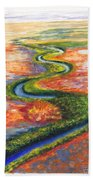 Meandering River In Northern Australian Channel Country Bath Towel