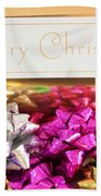 Merry Christmas Message With Colourful Bows Bath Towel