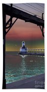 Michigan City Lighthouse 2 Bath Towel
