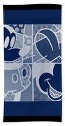 Mickey In Negative Deep  Blue Bath Towel