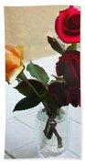 Mixed Roses In Crystal Vase Bath Towel