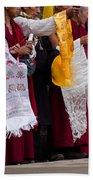 Monks Wait For The Dalai Lama Bath Towel