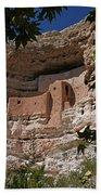 Montezuma Castle Cliff Dwellings In The Verde Valley Of Arizona Hand Towel