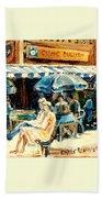 Montreal Cafe City Scenes Prince Arthur And Duluth Street Bath Towel