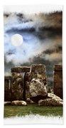 Moon Over Stonehenge Bath Towel