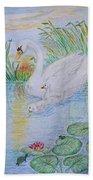 Morning Swim I  Original Colored Pencil Drawing Bath Towel