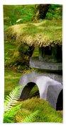 Mossy Japanese Garden Lantern Bath Towel